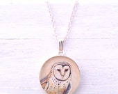 BARN OWL Silver Necklace- Cream White Delicate Bird Jewelry Barn Owl teen gift