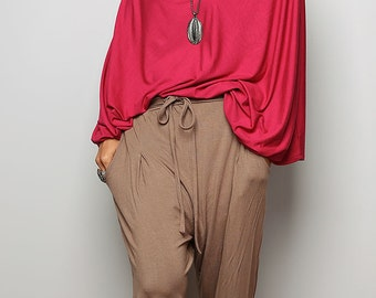 Long Brown Pants / Harem pants / Comfy long pants classy street style : Urban Chic Collection no.15