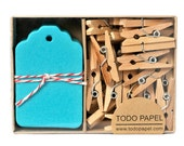 Teal mini tag set -  Boxed gift tags with clothespins 40 pack. Something Blue