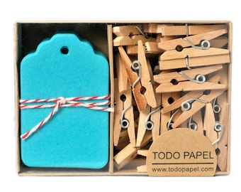 Teal mini tag set -  Boxed gift tags with clothespins 40 pack. Something Blue. Blue Weddings Gift Wrap. Winter gifts. Tiffany Blue Tags