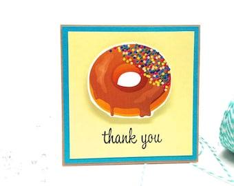 Thank You Card  - Chocolate glaze Donut Card Funny Handmade Thank You Card
