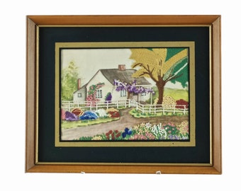 Vintage Framed Needlework House and Garden - Birthplace of Mark Twain