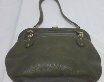 ROGER VAN S. Dark Olive Pebbled Leather Handbag with Metal accents