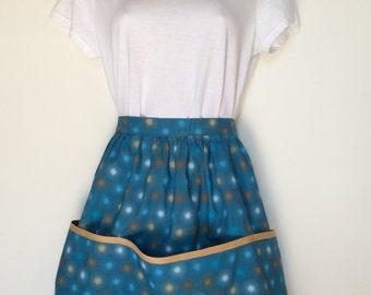 Handmade ladies retro print half apron