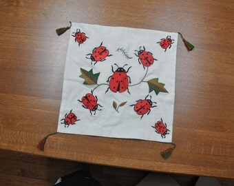 Hand Embroidered Ladybug Pillow Cover