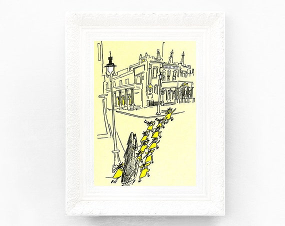 7x9 Madeline Print. Original French Book Plate Illustration Theatre Royal Drury Lane London England UK France Paris Ludwig Bemelmans