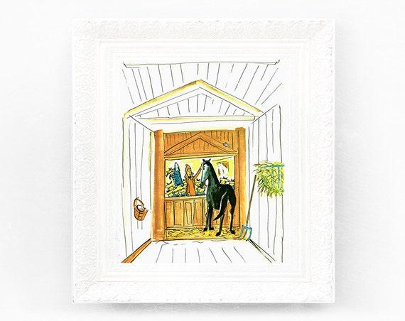 6x9 Vintage Madeline Print. Original French Book Plate Illustration Horse Stable Pony Clapboard France Paris Ludwig Bemelmans