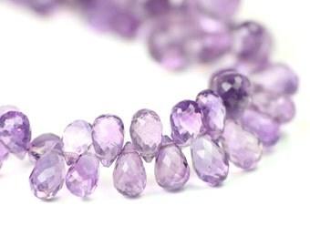 Amethyst Faceted Teardrop Briolettes Plum Purple Semi Precious Gemstone February Birthstone