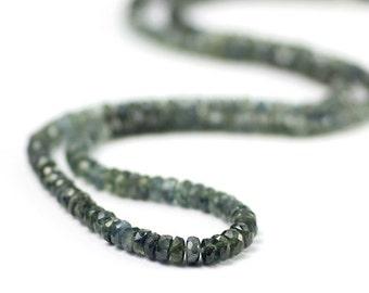 Sapphire Micro Faceted Rondelles 1.5 Inch Australian Deep Teal Blue Shaded Precious Gemstones Birthstone