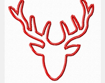 Deer Silhouette Buck Head 5x5 Applique Pattern INSTANT DOWNLOAD PES