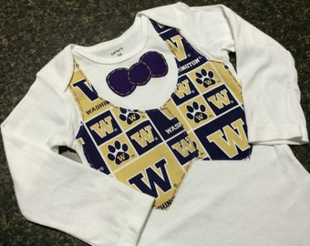 University of Washingon Huskies Themed Tuxedo Onesie