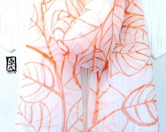 Silk scarf Handpainted, ETSY, Gift under 50, Gift for her, orange and white scarf, Coral Orange Tropical Leaves Scarf, Chiffon, 10x59 inches