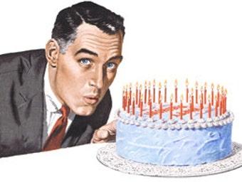 Man Birthday Cake Fancy Decorated Dessert Frosting Candles - Digital Image - Vintage Art Illustration