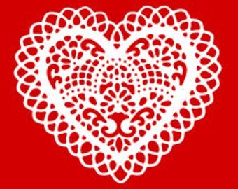 Valentine Heart Paper Cut Out Doily Style - Digital Image - Vintage Art Illustration