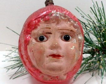 Christmas Ornament Glass Head Little Red Riding Hood Glass Eyes Germany