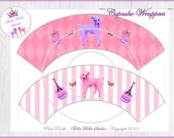 Paris POODLE CUPCAKE WRAPPERS ~ Printable Instant Download