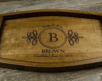 Personalized Wine Barrel Serving Tray, Wedding Gift, Anniversary Gift, Housewarming Gift, monogramed tray, engraved tray, wood tray