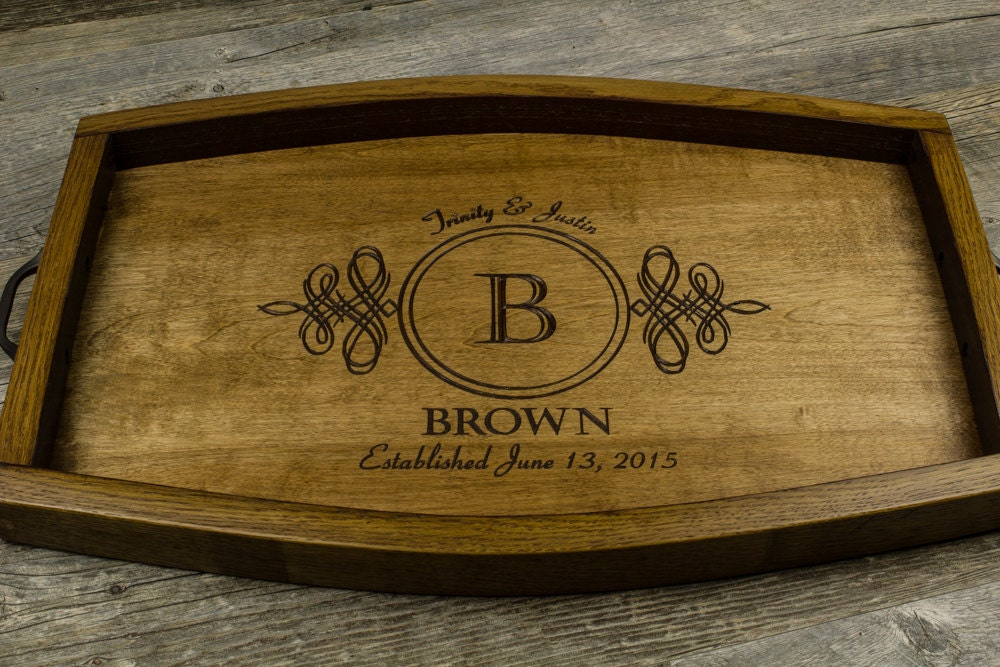 personalized serving tray wine barrel wedding gift anniversary