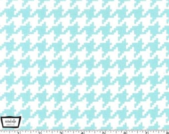 SALE - Everyday Houndstooth - Aqua Cotton Print Fabric from Michael Miller