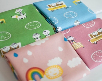 Puti De Pome Canvas Fabric Bundle -  Fat Quarter Bundle - 4 quarter fat pieces (B312)
