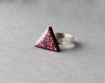 Wooden Triangle Ring (Pink Glitter) - Modern Handmade Jewellery