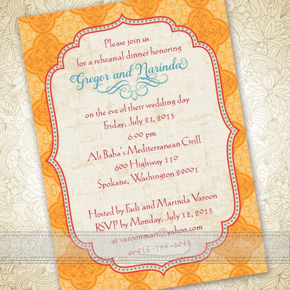 wedding invitations, tangerine and goldenrod Moroccan wedding invitations, tangerine tango and turquoise bridal shower invitations, IN364