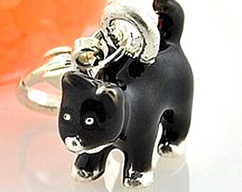 BLACK CAT Charm. Silver Plated Enamel. Small 3D. No Lobster Clasp.