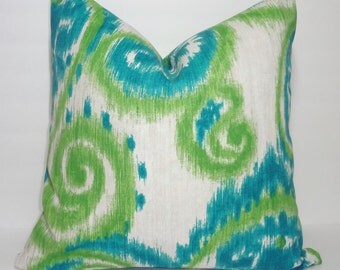 NEW OUTDOOR Pillow Teal Green Natural Ikat Print Cushion Cover Porch Decorative Pillow 18x18