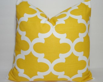 Corn Yellow Moroccan Geometric Print Pillow Covers Decorative Throw Pillow Covers All Sizes