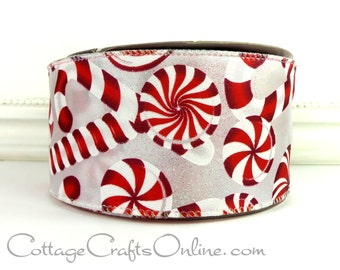 """Christmas Wired Ribbon 2 1/2"""" Candy Canes, Peppermints, Glitter - THREE YARDS  -  """"Candy Cane Court"""" Craft Decor Wire Edge Ribbon"""