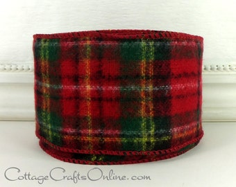 """Christmas Wired Ribbon, 2 1/2"""" wide, Tartan Plaid Red and Green Flannel Style, TEN YARD ROLL, d stevens """"Scottish Plaid"""" Craft Decor Ribbon"""