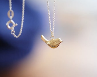 Necklace bird silver and 18k gold plate