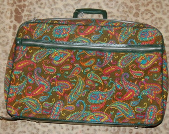 Mod Paisley Psychedelic Suitcase Vintage Retro 60s 70s Luggage