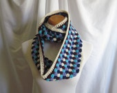Infinity Scarf Cowl Crochet - Off White, Navy, Aqua, Burgundy & Purple