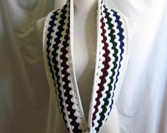 Infinity Scarf Cowl Crochet - White, Navy & Burgundy