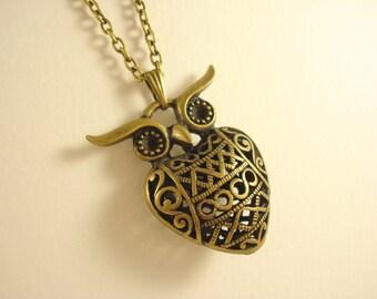 3D Filigree Owl Necklace NC-438