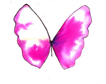"""butterfly bright pink and white 8 X 10"""" original watercolour painting"""