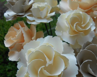 Dozen Wild Roses, Ivory, Cream, Champagne. Wedding, Paper Flower Bouquet, Gift, Centerpiece. Or CHOOSE YOUR COLORS.