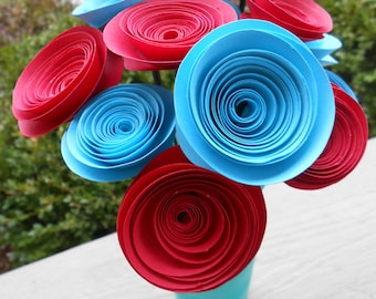 Rolled Paper Rose Bouquet, CHOOSE YOUR COLORS. Wedding, Birthday, Mother's Day, First Anniversary. Gift.