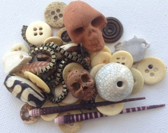 Skull & Bone Supply DESTASH - Unique Beads and Buttons- African Trade Bead, Horn, Antler, Clay - Nature ECO Jewelry Making / Craft Supply