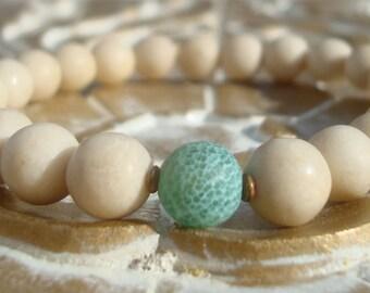 men's fossile & cracked agate mala bracelet