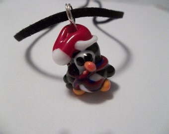 Christmas Penguin Lampwork Glass Necklace Black Leather Cord