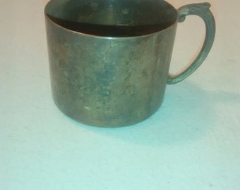 Antique Baby Cup , Silver Plate , 1910's era , Ornate Handle