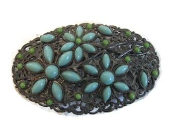 Art Deco oval brooch daisy filigree