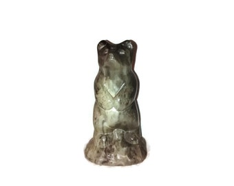 Vintage Inuit Carved Green Gray / Soapstone / Bear Figurine / 5 Inches Tall / Canada
