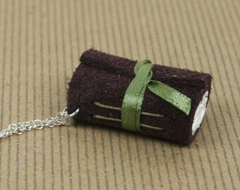 Mini Book Necklace - Purple Leather Hand Bound Book