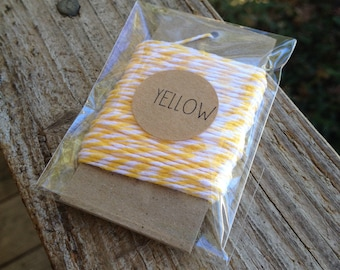 10 Yards • Timeless Twine Baker's  Twine / String • 4-Ply • 100% Cotton •  Gift Wrap • Craft •  Lemonade Yellow
