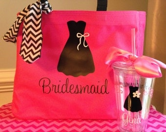 Personalized Bride or Bridesmaid Dress Tote Bag and Tumbler Set