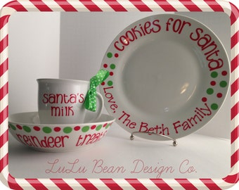 Personalized Cookies and Milk for Santa Plate, Mug, and Reindeer Treats Bowl Set