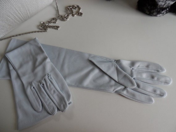 Gloves, pale blue, 1950s, steampunk, evening elegance.
